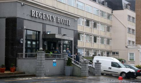 The entrance to the hotel after the incident, which gardai believe involved use of an AK47 assault rifle. Photograph: Colin Keegan/Collins Dublin