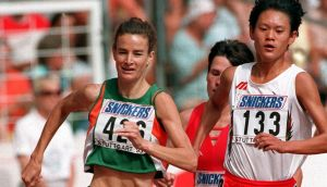 Ireland's Sonia O'Sullivan on her way to finishing second at the 1993 World Championships in Stuttgart. Photograph: Billy Stickland/Inpho