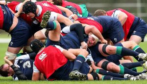 Connacht's Nathan White in a ruck during Ireland squad training at Carton House on Friday. Photograph: Billy Stickland/Inpho