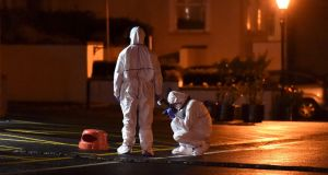 Police and forensic officers attend the scene of a shooting at the Regency Airport Hotel in Dublin,  February 5th, 2016. Photograph: Clodagh Kilcoyne/Reuters