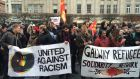 Protesters outside the GPO in Dublin on Saturday over the launch of anti-immigration group Pegida. Photograph: Cyril Byrne/The Irish Times