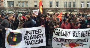Protests outside the GPO in Dublin on Saturday over the launch of anti-immigration group Pegida. Photograph: Cyril Byrne