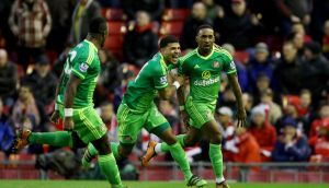 Jermain Defoe scored in the 89th minute to give Sunderland a 2-2 draw at Anfield. Photograph: PA