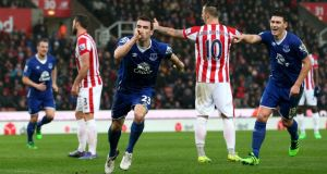 Seamus Coleman scored Everton's second in their 3-0 win over Stoke City. Photograph: Getty