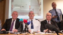 Assistant Garda commissioner John O'Mahony (left), assistant Garda commissioner Jack Nolan (centre), Garda assistant Commissioner Derek Byrne (right) during a Garda Press conference in Ballymun Garda station following the  fatal shooting of David Byrne (34). Photograph: Collins