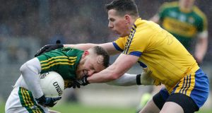 Kerry's Barry John Keane battles with Sean McDermott of Roscommon during their Allianz League Division One clash in Killarney. Photo: Morgan Treacy/Inpho