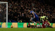 Diego Costa's injury time goal snatched a point for Chelsea against Manchester United at Stamford Bridge. Photograph: AFP