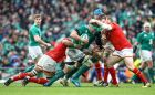Ireland's CJ Stander is  tackled by Taulupe Faletau and Gethin Jenkins of Wales during the Six Nations game at the Aviva Stadium. Photograph: James Cromie/Inpho