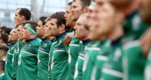 Ireland line up for the anthems ahead of the Six Nations match against Wales at the Aviva Stadium. Photograph: Dan Sheridan/Inpho
