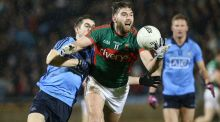 Mayo's Aidan O'Shea is tackled by Dublin's Emmet Ó Conghaile at MacHale Park. Photograph: Andrew Paton/Inpho