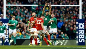 Conor Murray tries  to charge down Rhys Priestland's attempt at  a late drop goal at the Aviva Stadium.Photograph: James Crombie/Inpho