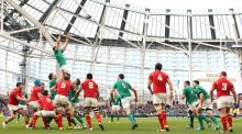 Ireland's Tommy O'Donnell wins a lineout during the Ireland-Wales Six Nations clash at the Aviva Stadium on Sunday. Photograph: Colm O'Neill/Inpho