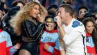 Beyonce and Chris Martin of Coldplay perform during half-time at the NFL's Super Bowl 50 football game between the Carolina Panthers and the Denver Broncos in Santa Clara, California. Photograph: Lucy Nicholson/Reuters