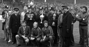 The 1978 First Division Champions and League Cup winners Nottingham Forest line up with their trophies, together with members of the local police constabulary who were placed in charge of the cups by Forest Manager Brian Clough (front row, far left). Photo: Bob Thomas/Getty Images