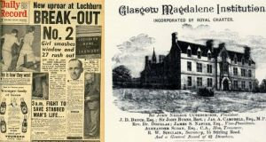 "How the Daily Record reported the 1958 escape from Glasgow's Magdalene Institution for the Repression of Vice and Rehabilitation of Penitent Females (also known as Lochburn House). It had very specific criteria for women who entered – they had to be free from venereal disease, newly ""fallen"", not pregnant – which set it apart from its Irish counterparts – and willing to submit to discipline. Others were committed to the notorious Lock Hospital"