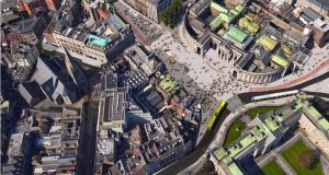 From the air: How pedestrianisation of College Green in Dublin would appear to a bird.  Illustration: Dublin City Council