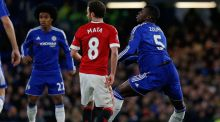 Chelsea's French defender Kurt Zouma lands awkwardly to injure himself during the Premier League game against Manchester United at Stamford Bridge on Sunday. Photograph: Ian Kington/AFP