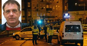 Gardaí at the scene of the shooting on Monday night of Eddie Hutch snr (inset) at Poplar Row, North Strand. Photograph: Eric Luke/The Irish Times