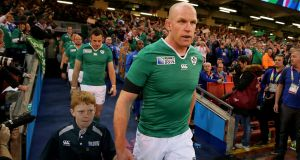 Paul O'Connell, pictured before his final Ireland appearance against France, has announced his retirement from all rubgy. Photograph: Getty