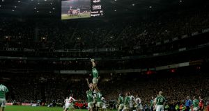 One of the iconic Paul O'Connell images, as he leaps to take a lineout against England at Croke Park. Photograph: Cyril Byrne