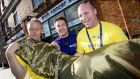 Great BT Charity Shops Challenge: BT volunteers Garreth Fennell, John O'Driscoll and Mike Cormac at the Irish Cancer Society store in Rathmines