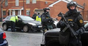 HUTCH MURDER: Gardaí from the Emergency Response Unit on patrol in north Dublin following fatal gang-related violence. Photograph: Niall Carson/PA Wire
