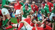 Paul O'Connell celebrates scoring a try against Wales in 2002. Photograph: Inpho