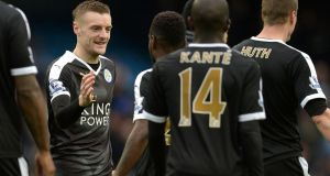Leicester City's English striker Jamie Vardy celebrates at the Etihad Stadium after the win over Manchester City. Photograph: Getty Images