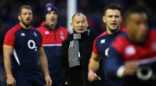 Eddie Jones the England head coach watches over the England pre match warm up at Murrayfield Stadium last weekend. Photograph: David Rogers/Getty Images