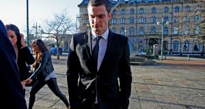England footballer Adam Johnson, 28, arrives at Bradford Crown Court, Bradford, where he is on trial accused of child sex charges. Photograph: Peter Byrne/PA