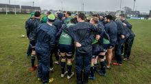 The Connacht team form a huddle in training ahead of their trip to Wales. Photograph: James Crombie/Inpho