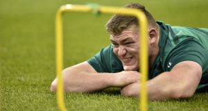 Wexford native Tadhg Furlong has won all his four Ireland caps from the replacements bench. Photograph: AFP.