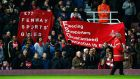 Liverpool fans protest against high ticket prices during the  FA Cup  match against West Ham at Upton Park. Photograph:  Clive Rose/Getty Images