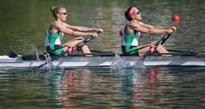 Ireland's Claire Lambe  and Sinead Jennings, who have qualified for the Olympic Games in Rio  in the lightweight women's double sculls. Photograph: Philipp Schmidli/Getty Images
