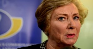 Minister for Justice Frances Fitzgerald at a press conference at the Department of Justice on Wednesday. Photograph: Cyril Byrne.