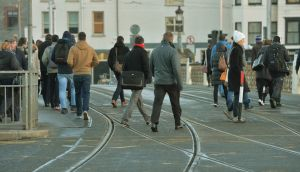 Empty Luas tracks at Heuston Station in Dublin. Photograph: Alan Betson / The Irish Times