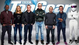 Rory Reid, Sabine Schmitz, Matt LeBlanc, Chris Evans, Chris Harris, Eddie Jordan and The Stig, who have been announced as the full line-up for BBC's Top Gear programme. Photograph: BBC/PA Wire