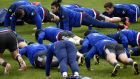 France winger Teddy Thomas and teammates attend a training session in Marcoussis, south of Paris. Photograph: Getty Images