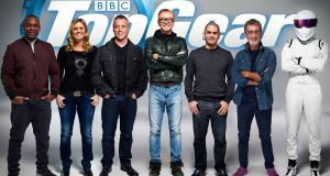 From the left: Rory Reid, Sabine Schmitz, Matt LeBlanc, Chris Evans, Chris Harris, Eddie Jordan and The Stig, who have been announced as the full line-up for BBC's Top Gear programme.