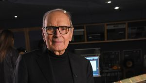 Ennio Morricone at the Abbey Road studios, in London, to record the score for 'The Hateful Eight'.  Photograph: Kevin Mazur/Getty Images for Universal Music