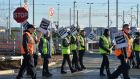 Striking Transdev Luas drivers at Sandyford Terminus as drivers embark on a two-day strike in search of higher pay. Photograph: Alan Betson/The Irish Times
