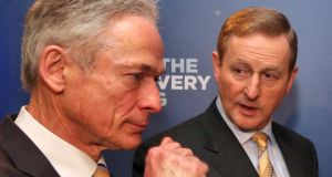 Cough, cough, pick me: Minister for Jobs Richard Bruton and Enda Kenny