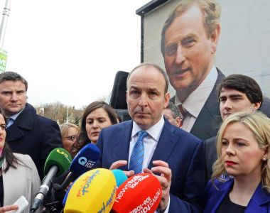 Fianna Fáil leader Micheál Martin at the launch of the party's advertisement campaign outside Leinster House. File photograph: Eric Luke/The Irish Times