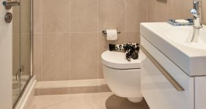Wall-hung sanitary ware, and using the same tiles on the wall and floor, make the bathroom seem bigger