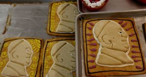 Baked images of Pope Francis are part of the production of a bakery in Morelia, Michoacan State, Mexico. The pope  will visit four Mexican states during his time there. Photograph: Enrique Castro/AFP/Getty