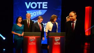 TV3's Colette Fitzpatrick, Sinn Féin's Gerry Adams, Taoiseach and Fine Gael leader Enda Kenny, Tánaiste and Labour Party leader Joan Burton and Fianna Fáil's Micheál Martin. Photograph: Cyril Byrne