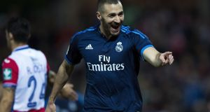 Karim Benzema of Real Madrid CF celebrates scoring against Granada CF last weekend. Photograph: Gonzalo Arroyo Moreno/Getty Images