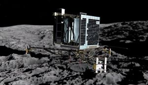 Artists' impression of Philae lander on the surface of Comet 67P/Churyumov-Gerasimenko. Photograph: ESA Medialab/AFP/Getty Images
