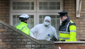 The scene  of the fatal shooting of of Eddie Hutch Snr,  in his home on Poplar Row in  Dublin's north inner city. Photograph:  Colin Keegan/Collins Dublin