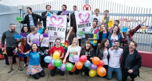 Members of Boat to Vote, a group of Irish people who returned from London to vote in the marriage-equality referendum. Photograph: Dave Meehan